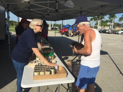 Helping distribute food for veterans