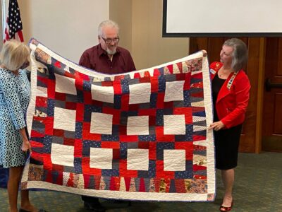 Presenting a Quilt of Valor to a Veteran